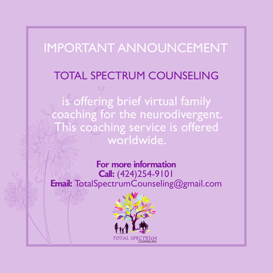 Total Spectrum Counseling offering family coaching for neurodivergent people